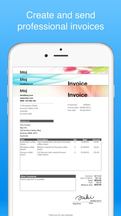 invoice maker pro - Create invoices on the go free by B TO J PTY LTD