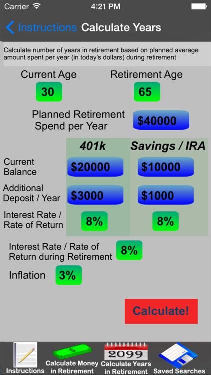 Easy Retirement Calculator by Workman Consulting LLC - 401k calculator
