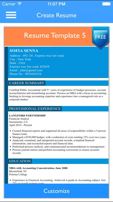Free Resume Builder App - Professional CV Maker and Resumes Designer - Resume Maker App