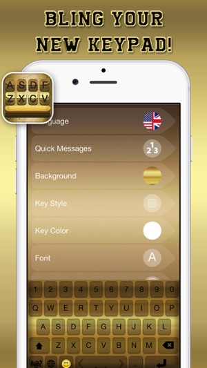Gold Keyboard Themes \u2013 Color Text Fonts and Message Backgrounds with
