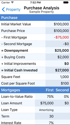 Property Evaluator - Real Estate Investment Calc on the App Store - investment analysis sample