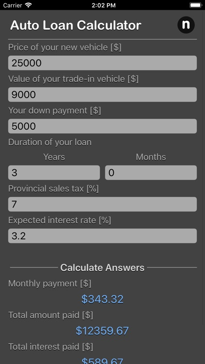 Auto Loan Calculator Plus by Nitrio