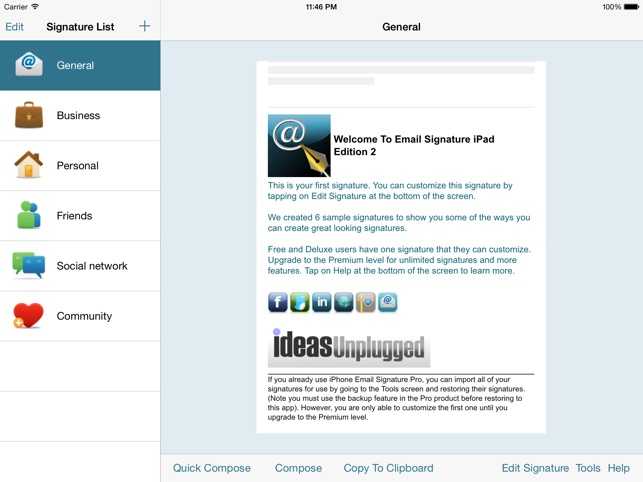 Email Signature iPad Edition on the App Store - business signature email