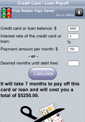 Credit Card Payoff Calc on the App Store - loan to payoff credit cards