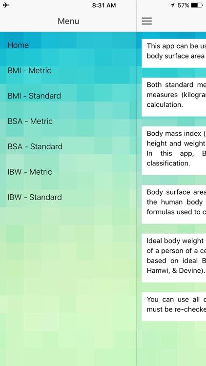 Body Calculator - BMI, BSA, Ideal Body Weight by Putu Angga Risky