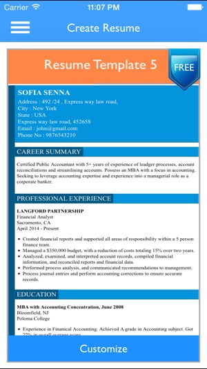 Free Resume Builder App - Professional CV Maker and Resumes Designer - free resume bulider