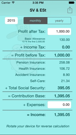 SV  ESt - social security (SVA) and income tax calculator for self - Income Tax Calculator