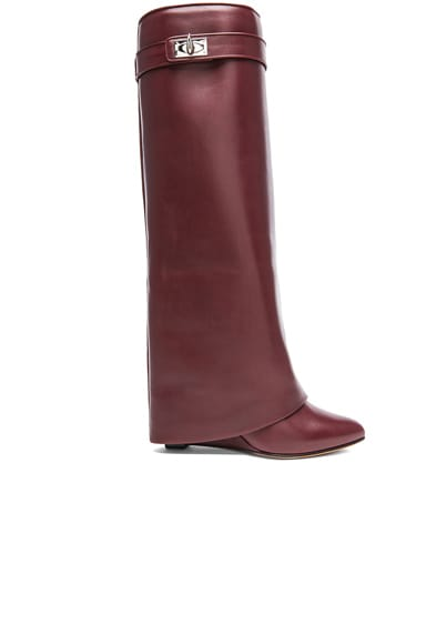 Givenchy Shark Lock Tall Leather Pant Boots In Burgundy Fwrd