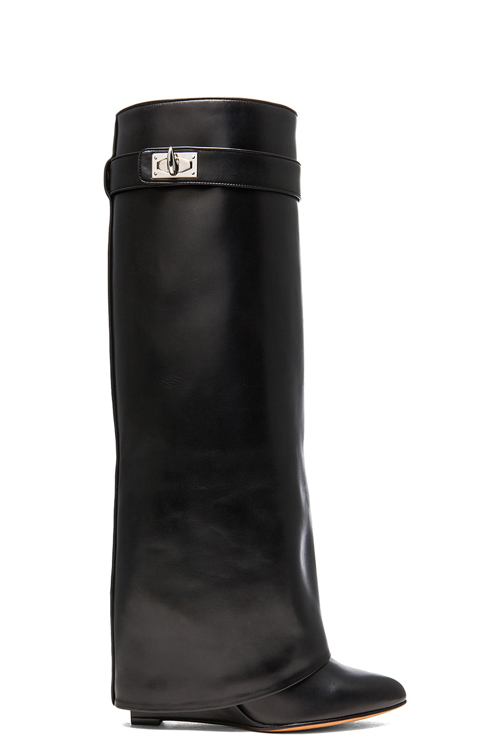 Givenchy Shark Lock Tall Leather Pant Boots In Black Fwrd