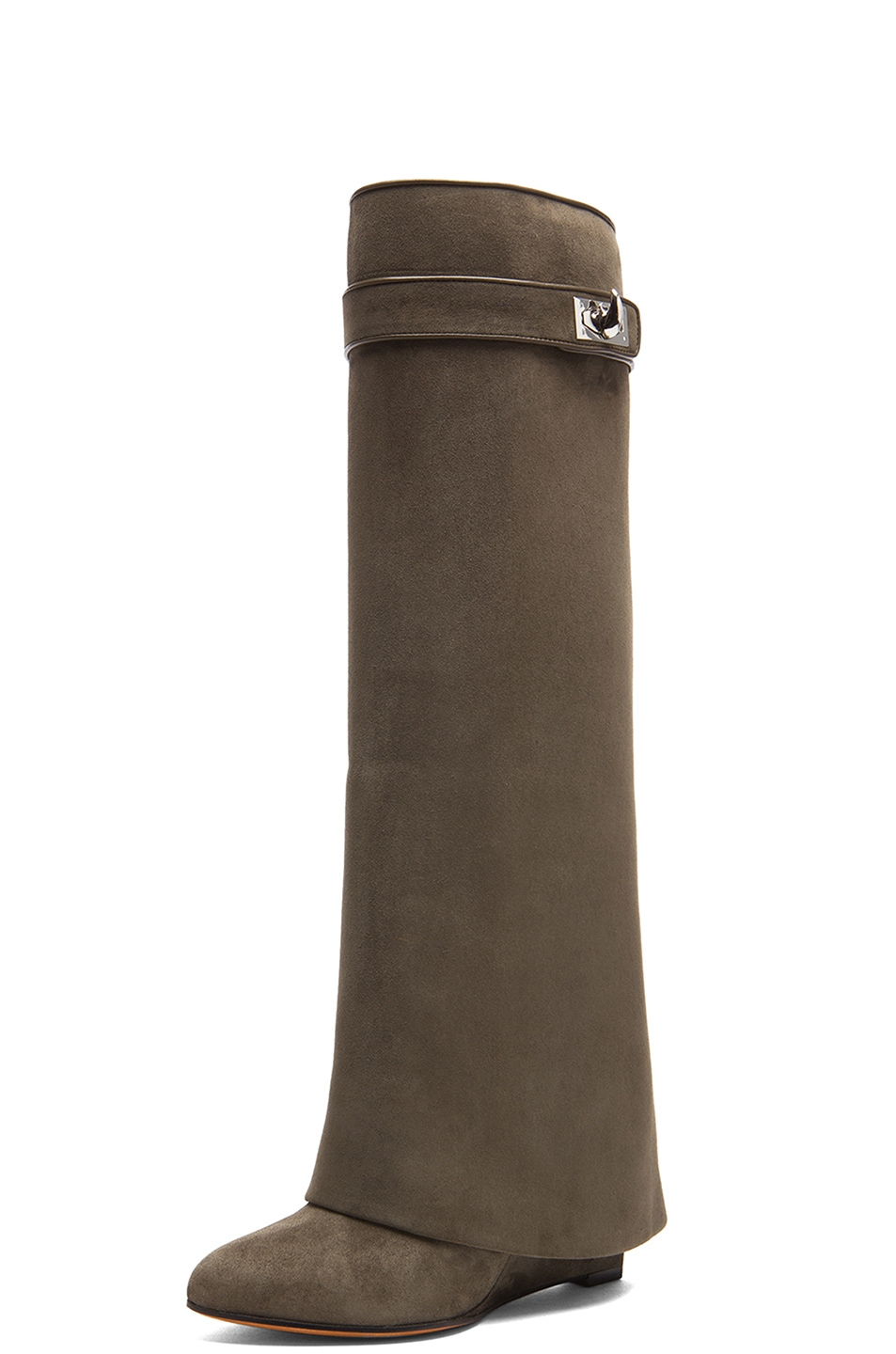Givenchy Shark Lock Tall Suede Pant Boots In Khaki Fwrd