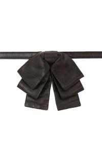 Saint Laurent Leather Noeud Triple Bow Tie in Black   FWRD