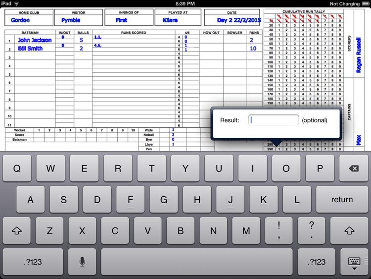 Cricket Score Sheet by PYMBLE SOFTWARE PTY LTD