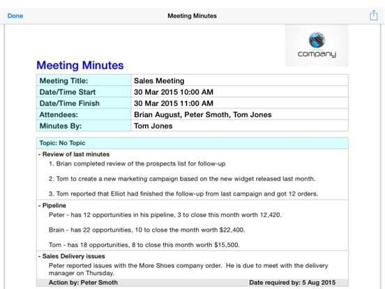 Simple Meeting Minutes on the App Store - meeting minutes