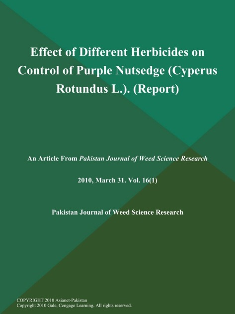 Effect of Different Herbicides on Control of Purple Nutsedge