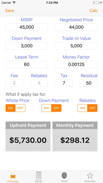 Auto Lease Calculator/ Car Loan Payment  Leasing by giang pham (iOS