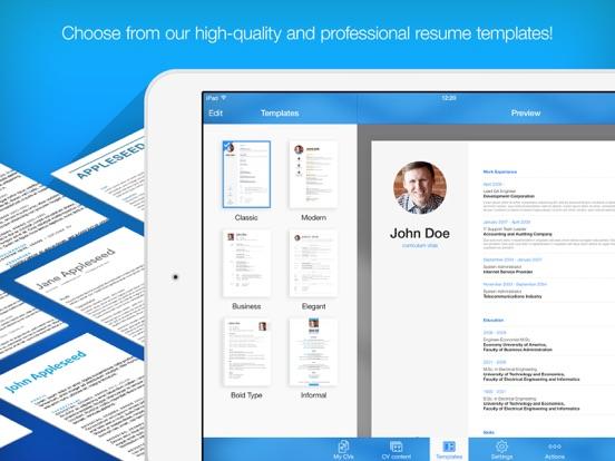 resume builder on iphone