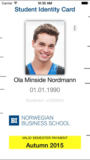 Student identification card on the App Store