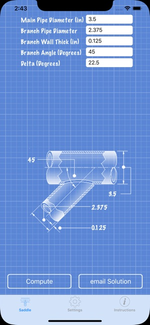 Pipe Saddle Layout Calculator on the App Store