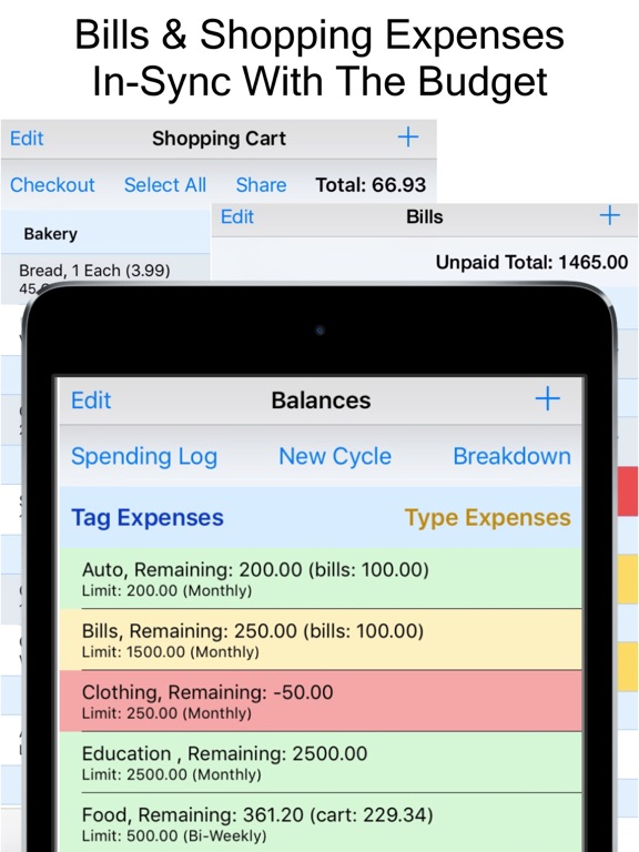 Expense Scout Budget, Bill Reminders  Grocery Shopping List App