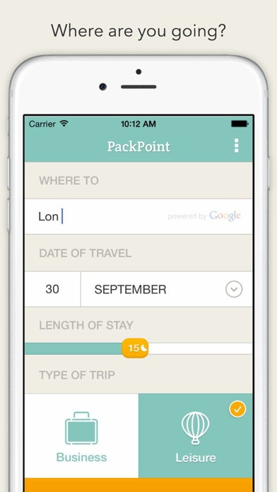 PackPoint Travel Packing List by Wawwo (iOS, United States - Business Trip Packing List