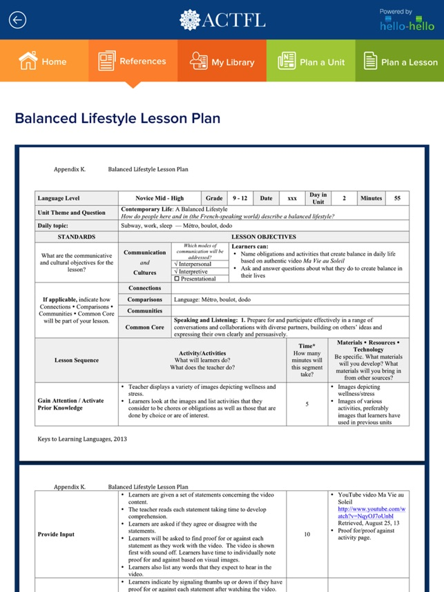 ACTFL Unit and Lesson Planner on the App Store