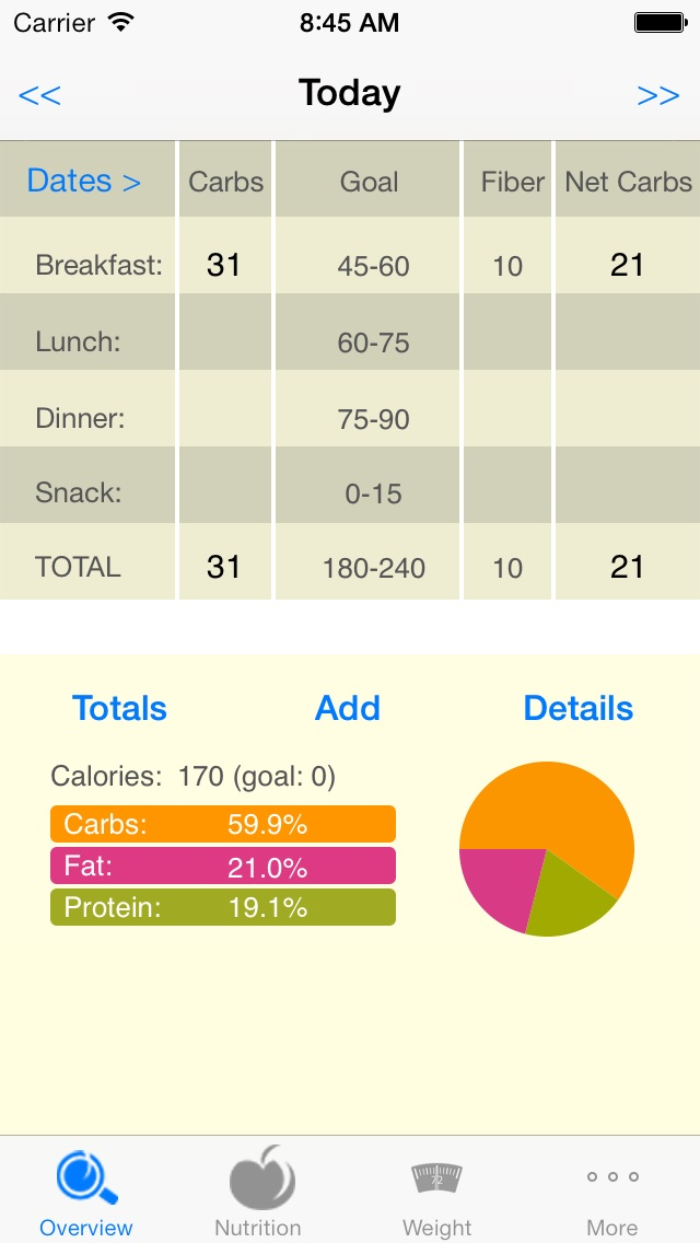 CarbsControl - Carb Counter, Carbs Tracker, Nutrition tracker for Diabetes  and Low Carb Diets App Price Drops