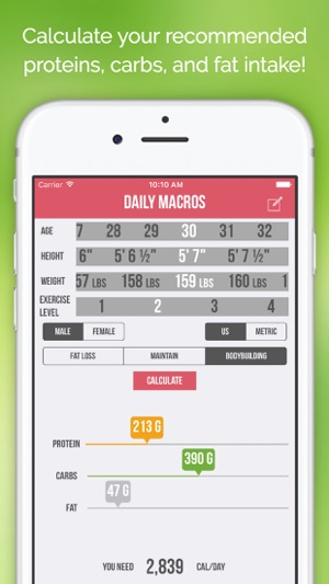 Daily Macros - Harris Benedict Formula Based Carb, Protein, Fat - calorie and fat calculator