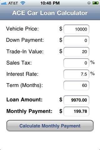 ACE Car Loan Calculator on the App Store - auto loan calculator