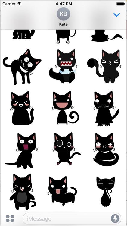 Black Cat Humor Sticker - Black Emoji Pack by Duong Ngo
