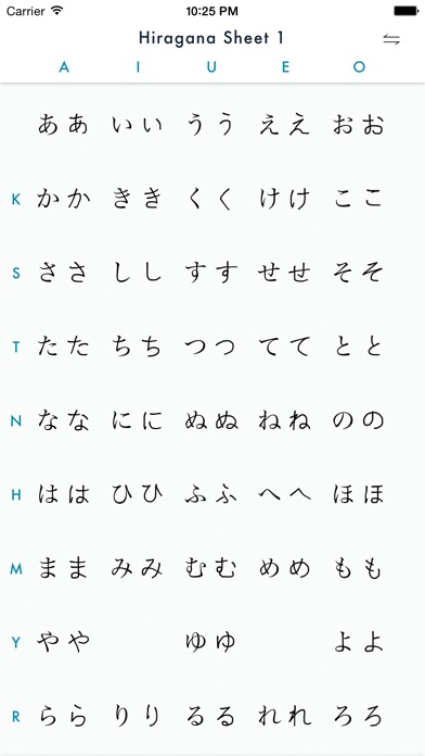 Practice Hiragana Writing with Stroke Order Help on the App Store - hiragana alphabet chart