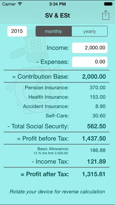 SV \ ESt - social security (SVA) and income tax calculator for - income tax calculator