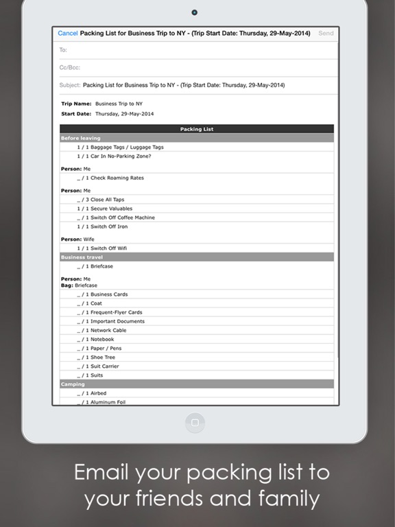 Shopping list manager  maker IPA Cracked for iOS Free Download - Business Trip Packing List