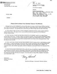 Letter from the IRS | The Isaac Brock Society