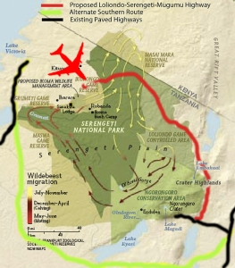 map showing the proposed location of the new Serengeti airport