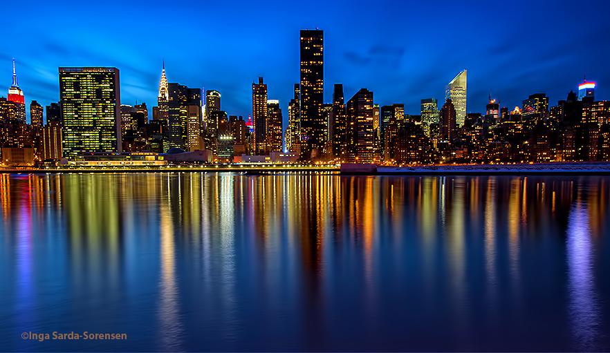 NYC in twilight reflection Inga\u0027s Angle