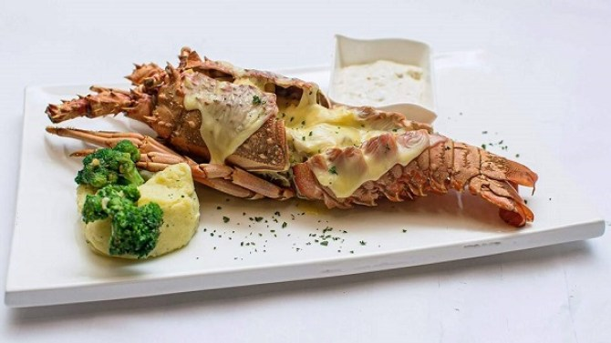 Thermidor Lobster at Casa Rouge restaurant in Islamabad.