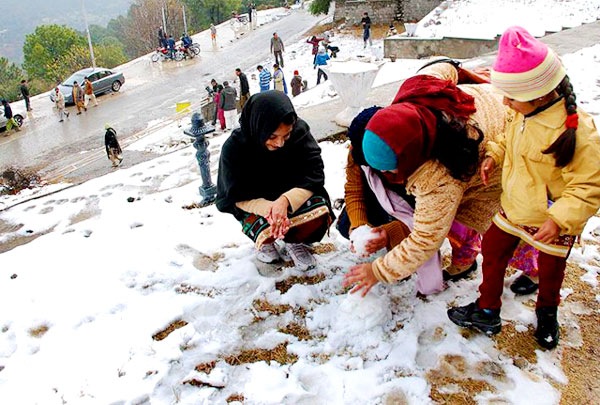 Margalla Hills and Pir sohawa received light snowfall after almost ten years on 11 Feb. 2016.