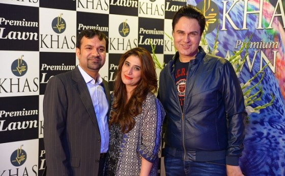 Mr and Mrs Awais Mukhtar with Rezz Aly Shah at the Khas Premium Lawn 2016 launch event in Islamabad.