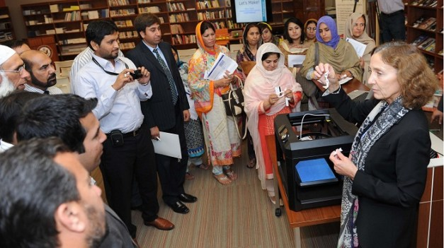 Islamabad's Librarians explore library innovations and trends, such as 3D printing, during a visit to the U.S. Embassy's Information Resource Center in Islamabad