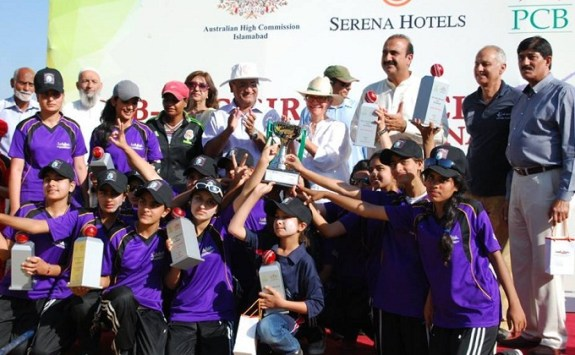 The girl students of four schools in Islamabad took part in cricket tournament hosted by Australian High Commission and PCB