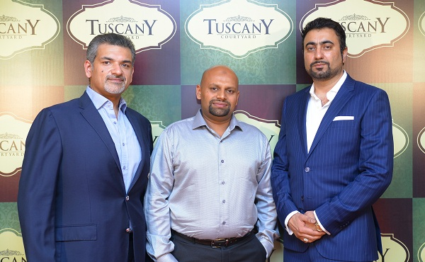 The owners of Tuscany Courtyard restaurant in Islamabad, Khurram Khan ,Sikander Bakhtiar, Aamir Rashid, at the re-launch ceremony.