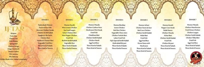 Fijji's Grill Islamabad Ramadan 2016 deals