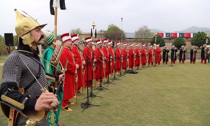 Turkish Janissary Military Band 'Mehter' performs at Pakistan Day Parade on 23 March 2017 in Islamabad