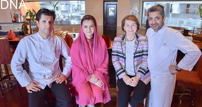 Marriyum Aurangzeb, Minister of State for IB&NH along with Martine Dorance, Ambassador of France, attending a lunch cooked by Wahid Brothers, Sylvestre Wahid and Jonathan Wahid renowned Pakistani Origin French Chefs. Photo: DNA