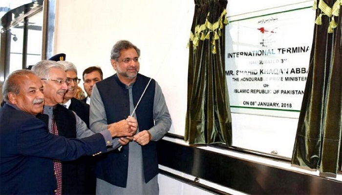 PM Abbasi opens terminal at Sialkot International Airport