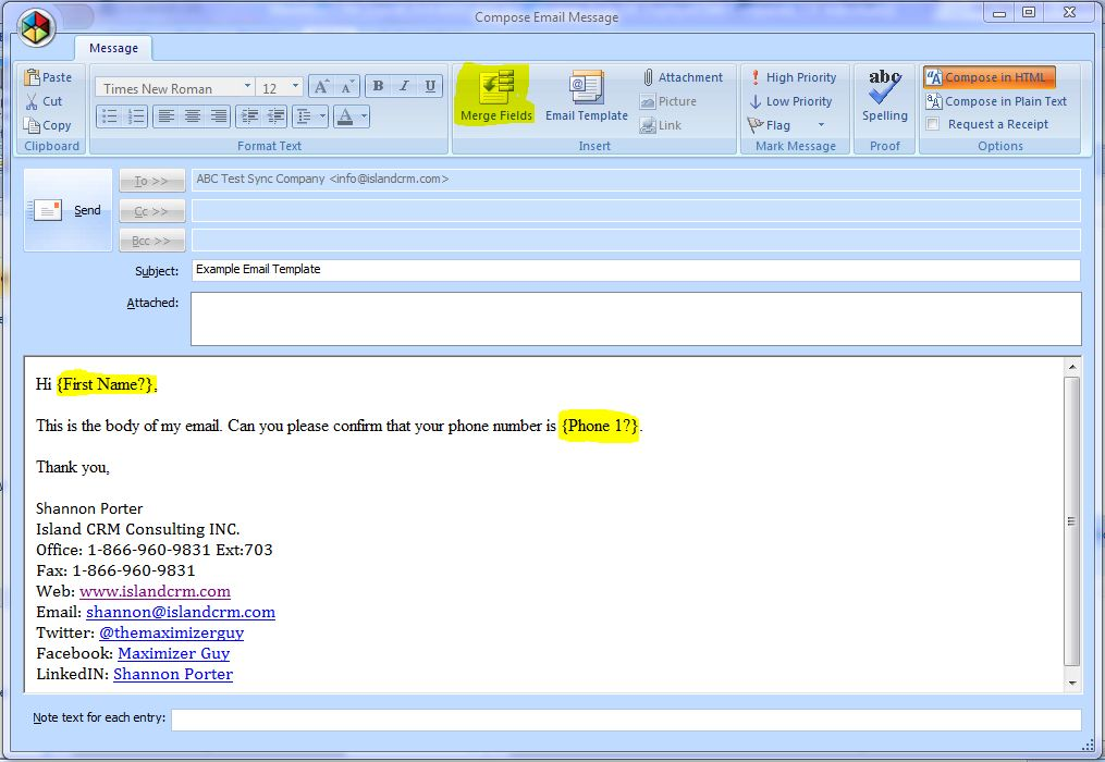 Maximizer CRM 11 Email Templates « IslandCRM
