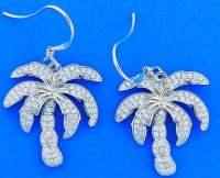 Alamea Palm Tree Cz Earrings, Sterling Silver