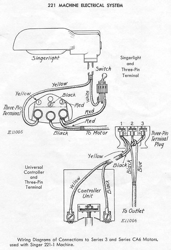 electrical parts diagram and parts list for singer sewingmachine