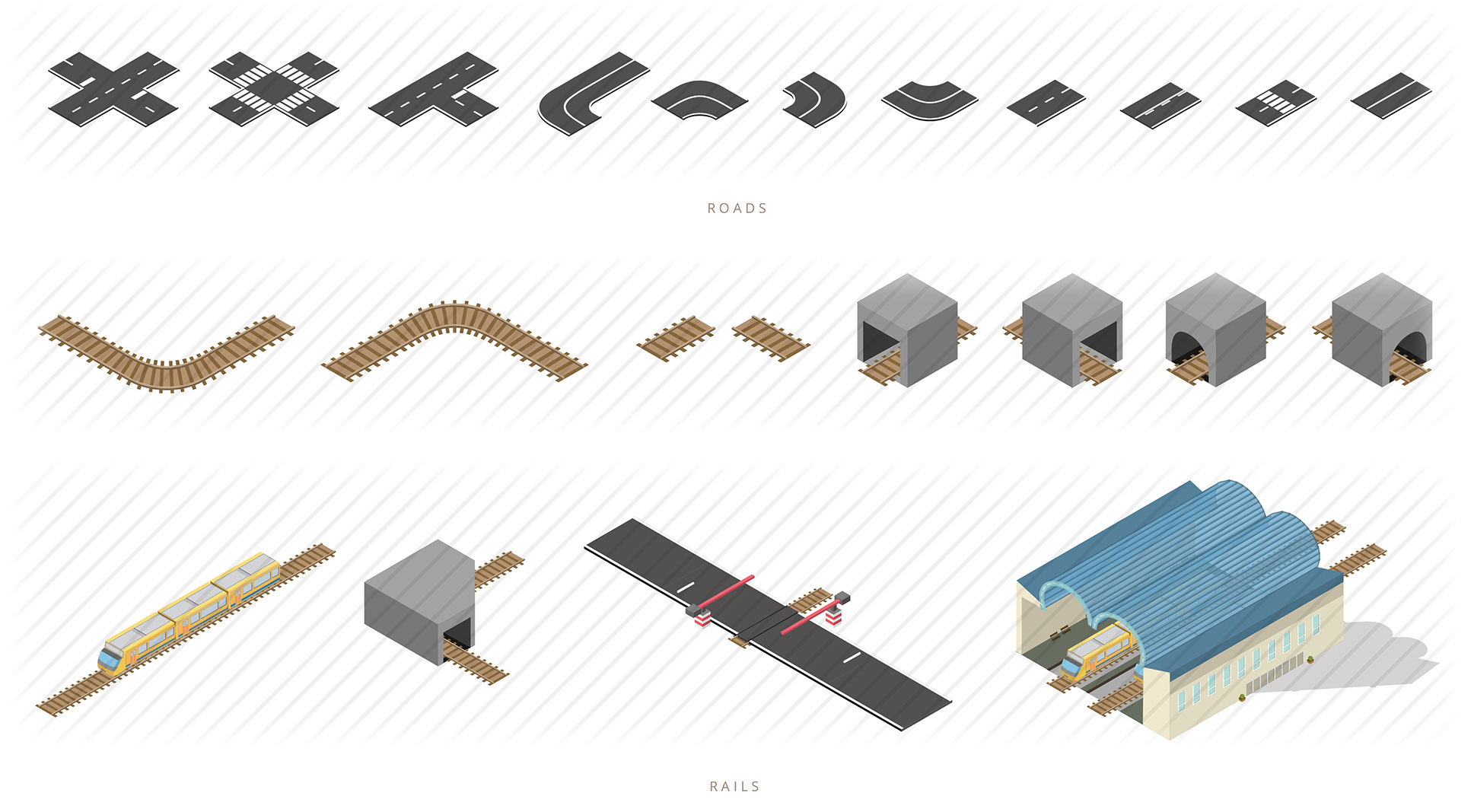 isometric roads and rails