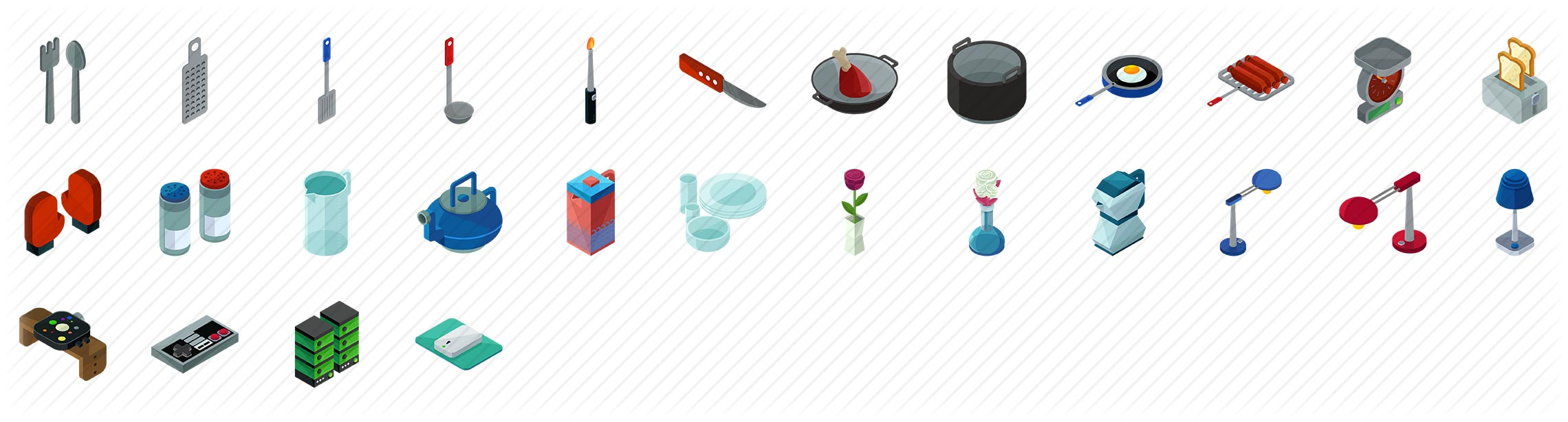Home Accessories Isometric Icons